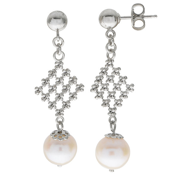 8-8.5Mm Cultured Freshwater Pearl Sterling Silver Earrings