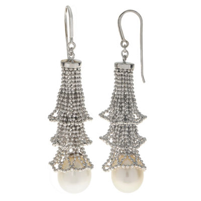 10-11Mm Cultured Freshwater Pearl Sterling Silver Earrings