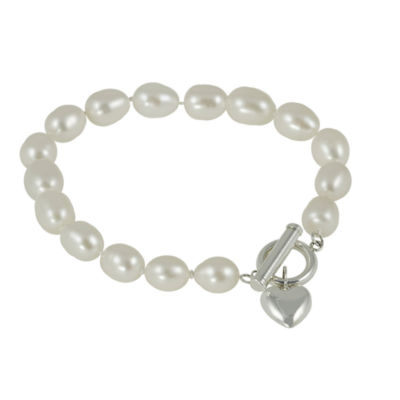 7-7.5Mm Cultured Freshwater Rice Pearl Sterling Silver Toggle Bracelet