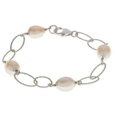 8.5-9Mm Cultured Freshwater Pearl Sterling Silver Bracelet