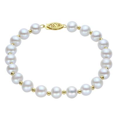 7-7.5Mm Cultured Freshwater Pearl Sterling Silver Bracelet