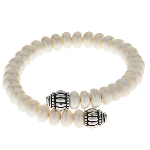 7.5-8Mm Cultured Freshwater Pearl Sterling Silver Bangle Bracelet