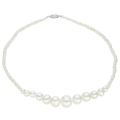 3-12Mm Cultured Freshwater Pearl Sterling Silver Graduated Necklace