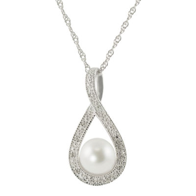 7-7.5Mm Cultured Freshwater Pearl And Diamond Accent Sterling Silver Pendant