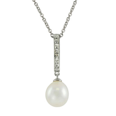 8.5-9Mm Cultured Freshwater Pearl And Diamond Accent Sterling Silver Pendant