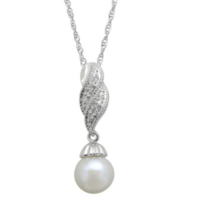 8-8.5Mm Cultured Freshwater Pearl And Genuine White Topaz Sterling Silver Pendant