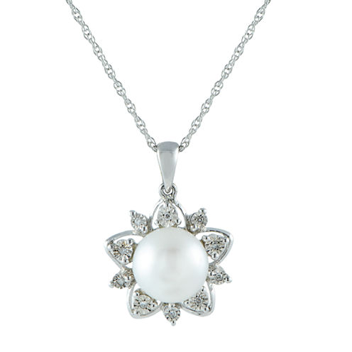 9.5-10Mm Cultured Freshwater Pearl And Diamond Accent Sterling Silver Pendant