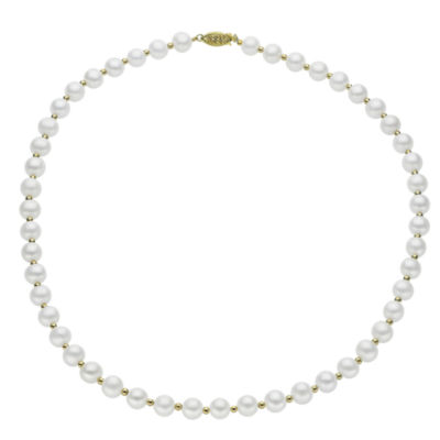 7-7.5Mm Cultured Freshwater Pearl Sterling Silver Necklace