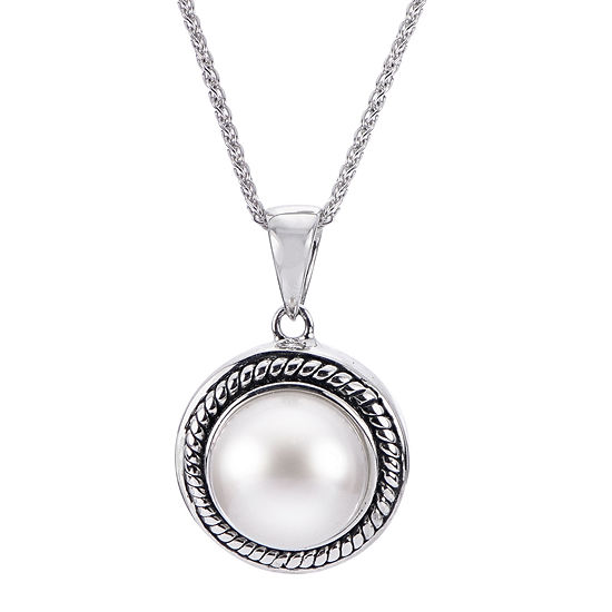 9.5-10Mm Cultured Freshwater Button Pearl Sterling Silver Pendant