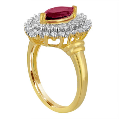 Lab Created Ruby & White Sapphire 14K Gold Over Silver Ring