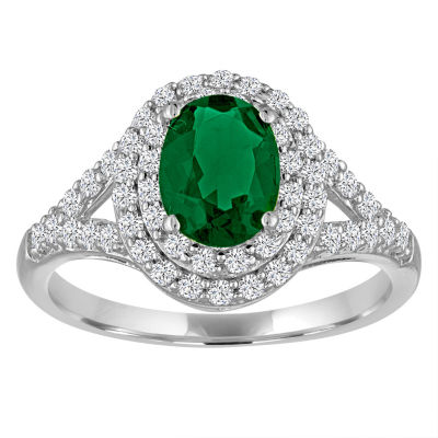 Simulated Emerald & Lab-Created White Sapphire Sterling Silver Ring