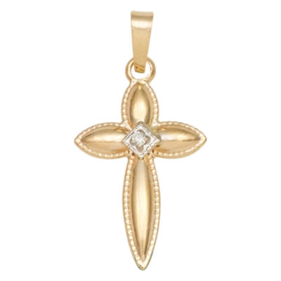 14K Two-Tone Gold Diamond-Accent Puffed Cross Charm Pendant