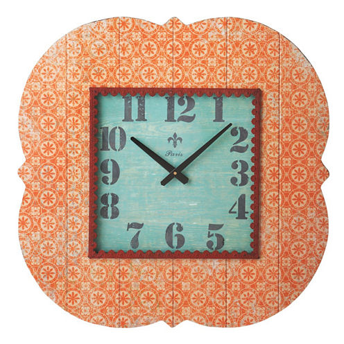 Orange Wall Clock with Metal Trim