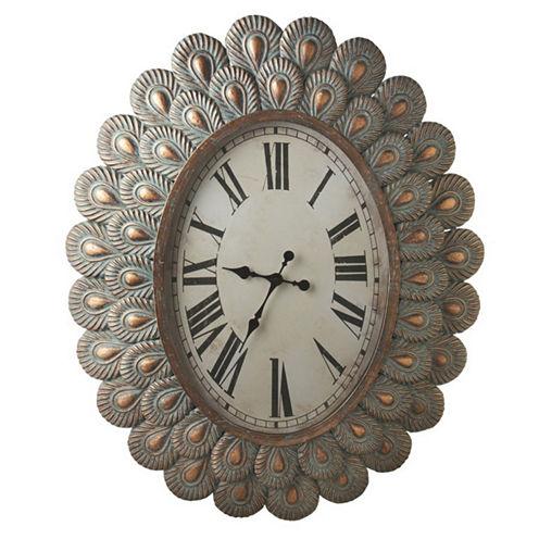 Patina Peacock Wall Clock