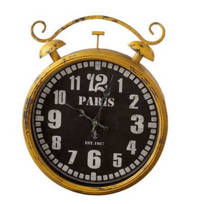 Distressed Yellow Paris Wall Clock