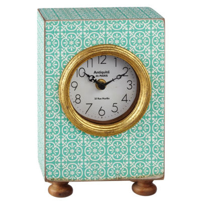 Mint Pattern Desk Clock with Gold Accent