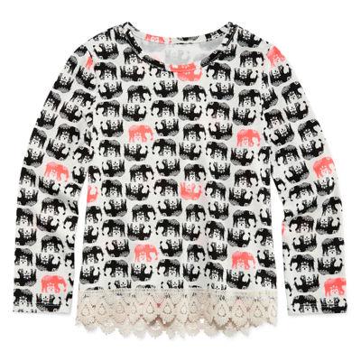 Arizona Long-Sleeve Crochet Trim Top - Preschool Girls 4-6x
