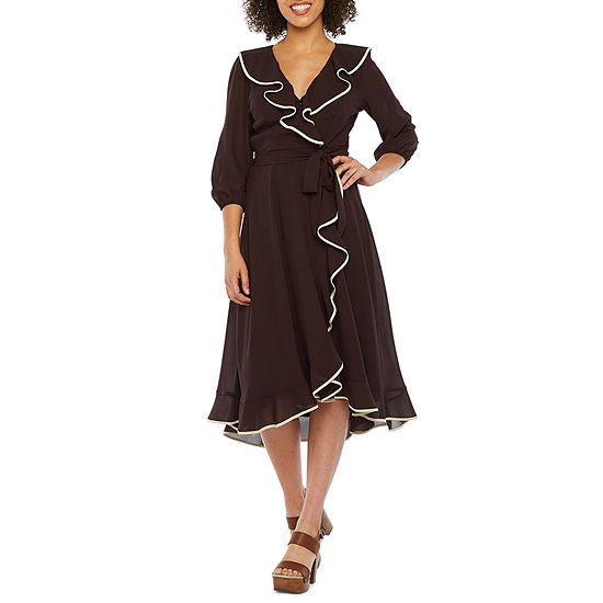 Danny & Nicole 3/4 Sleeve Wrap Dress