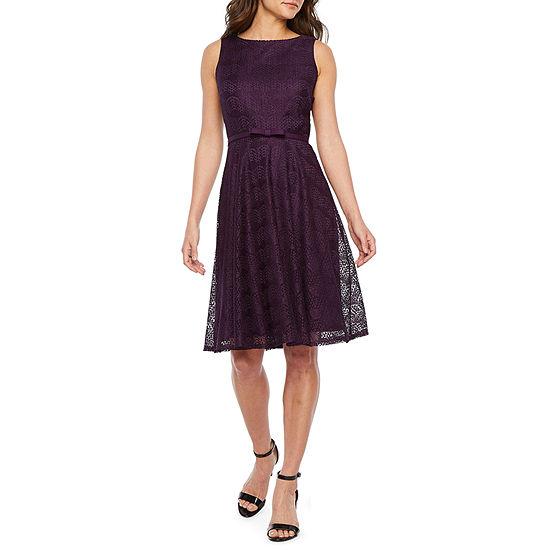 Danny Nicole Sleeveless Lace Fit Flare Dress