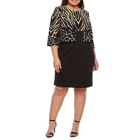 Danny & Nicole 3/4 Sleeve Animal Print Jacket Dress-Plus