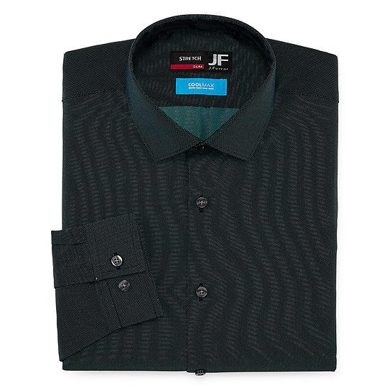 JF J.Ferrar Mens Coolmax Point Collar Long Sleeve Stretch Dress Shirt
