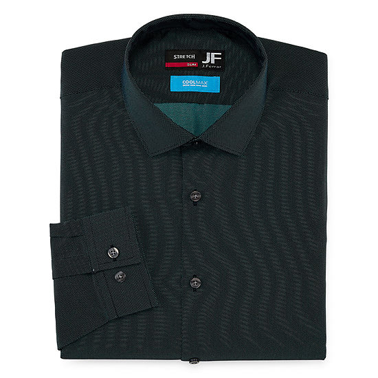 JF J.Ferrar Coolmax Mens Point Collar Long Sleeve Stretch Cooling Dress Shirt