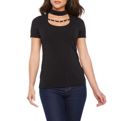 Bold Elements Womens Mock Neck Short Sleeve Blouse