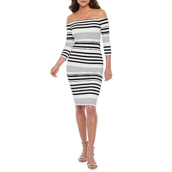 Bold Elements 3/4 Sleeve Striped Bodycon Dress