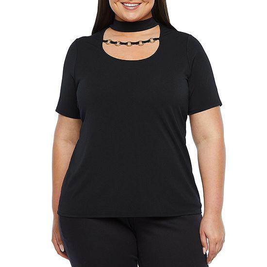 Bold Elements-Plus Womens Mock Neck Short Sleeve Blouse
