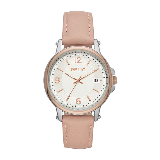 Relic By Fossil Lg Matilda Womens Pink Leather Strap Watch-Zr34565
