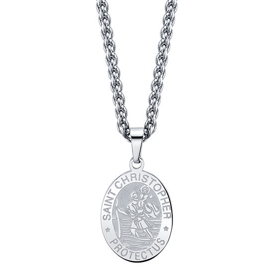 J.P. Army Stainless Steel 24 Inch Cable Pendant Necklace