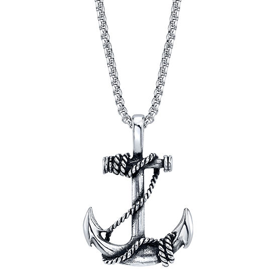 J.P. Army Men's Jewelry Stainless Steel 24 Inch Box Pendant Necklace
