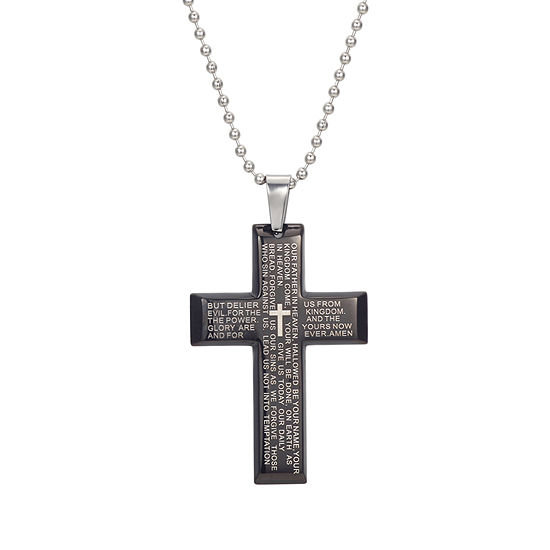 J.P. Army Men's Jewelry Stainless Steel 24 Inch Cable Cross Pendant Necklace