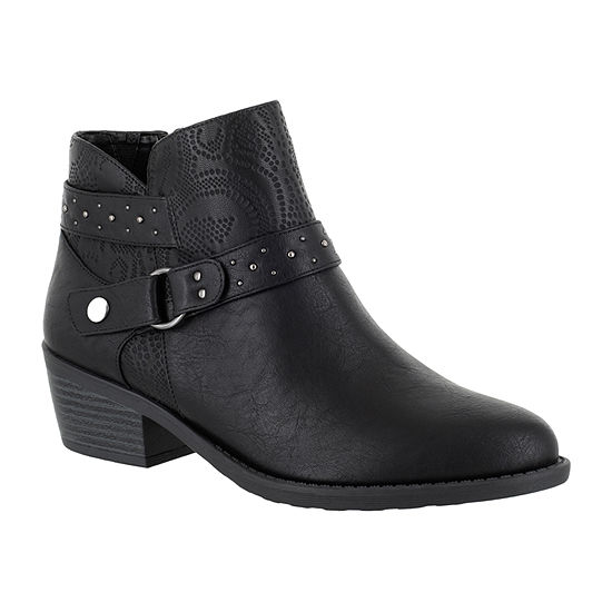 Easy Street Womens Leda Block Heel Zip Booties
