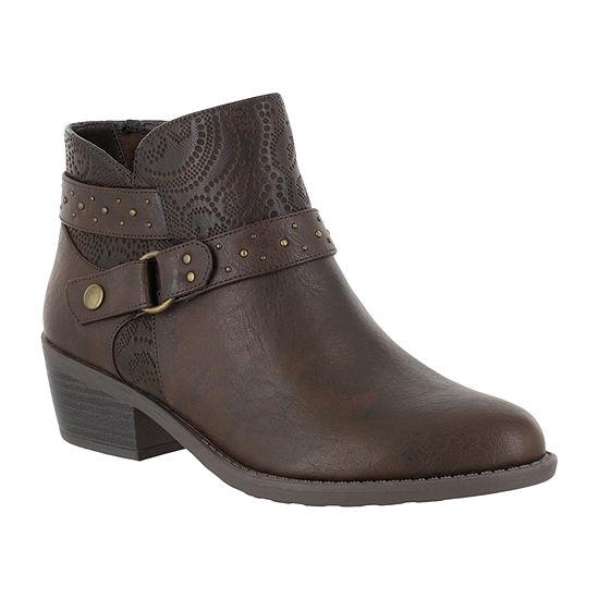 Easy Street Womens Leda Block Heel Zip Booties