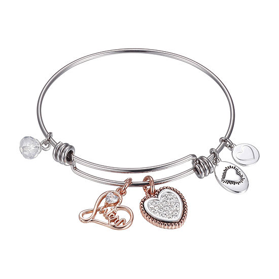Footnotes Sisters Silver Over Brass Stainless Steel Solid Heart Bangle Bracelet