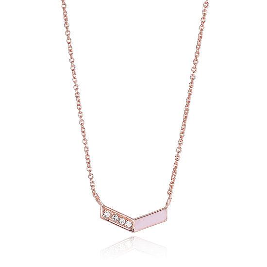 Silver Treasures Silver Treasures Womens Crystal Sterling Silver Pendant Necklace
