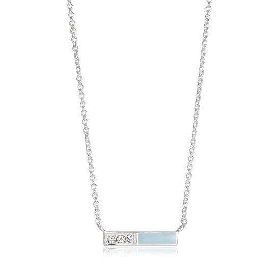 Footnotes Womens Crystal Sterling Silver Pendant Necklace