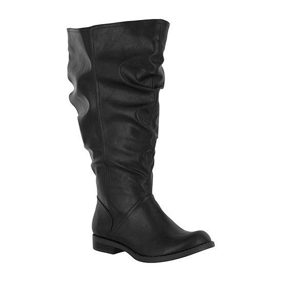 Easy Street Womens Peak Plus Block Heel Riding Boots