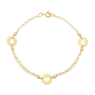 Made in Italy 14K Gold 7.5 Inch Solid Link Heart Link Bracelet