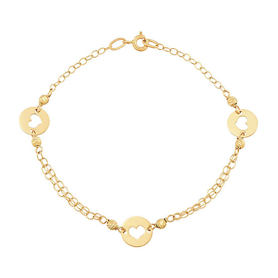 Made in Italy 14K Gold 7.5 Inch Solid Link Heart Link Bracelet