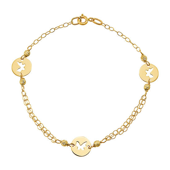 Made in Italy 14K Gold 7.5 Inch Solid Link Butterfly Link Bracelet
