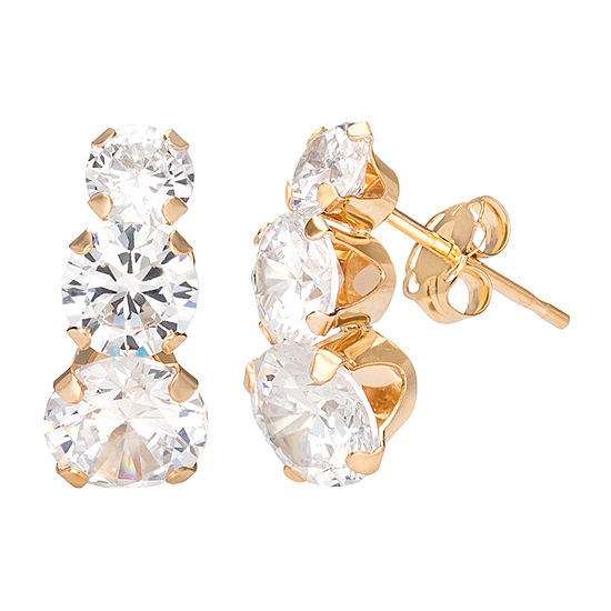 White Cubic Zirconia 10K Gold 13.6mm Round Stud Earrings