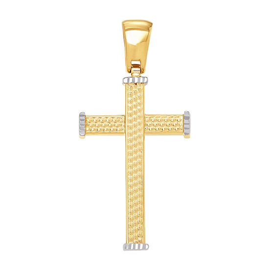 Made in Italy Unisex 14K Two Tone Gold Cross Pendant