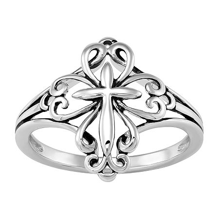 Forever Inspired Womens Sterling Silver Cross Cocktail Ring, 6