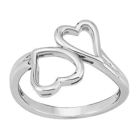 Forever Inspired Womens Sterling Silver Heart Cocktail Ring, 6