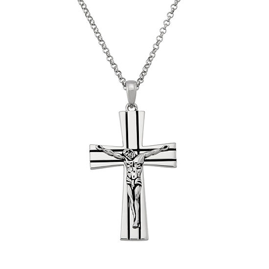 Forever Inspired Womens Sterling Silver Cross Pendant Necklace