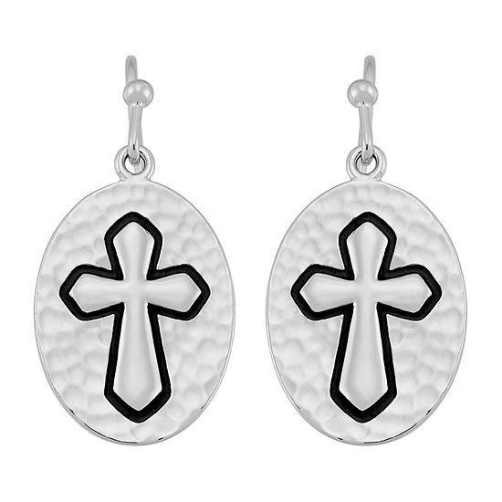 Forever Inspired Sterling Silver Cross Drop Earrings