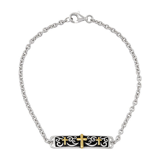 Forever Inspired Sterling Silver 7.5 Inch Cable Cross Link Bracelet