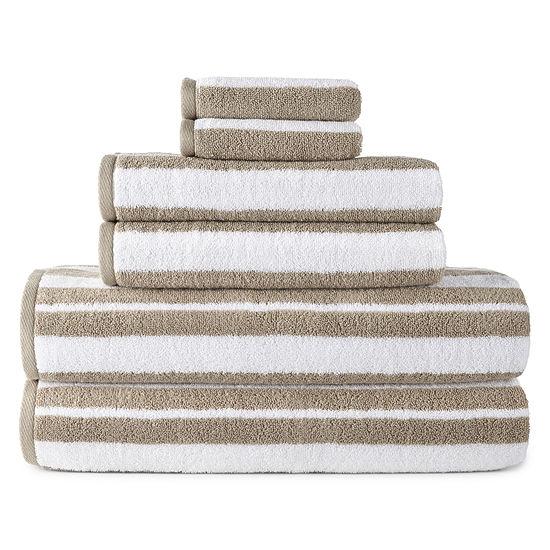 JCPenney Home Yarn Dye Stripe 6-pc. Stripes Bath Towel Set